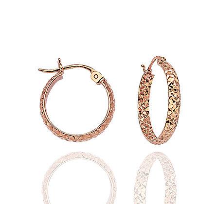 14kt Rose Gold Diamond Cut Hoops
