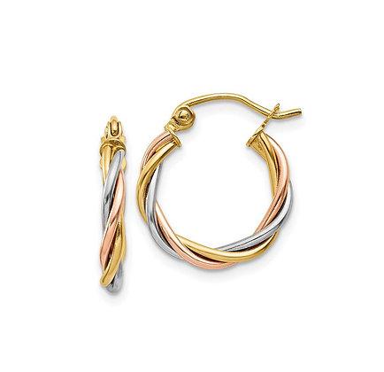 14kt Tri Color Gold Hoop