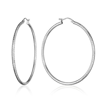 Diamond Cut White Gold Hoops