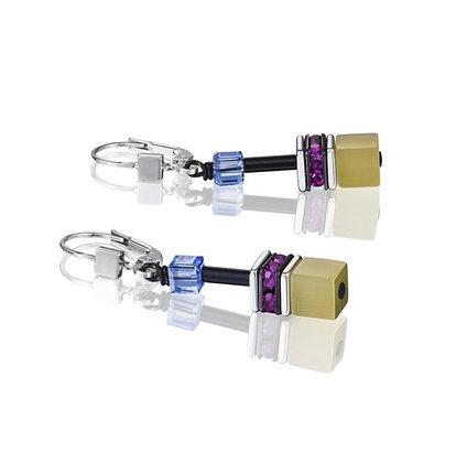 Raspberry Crystal Geo Cube Earrings