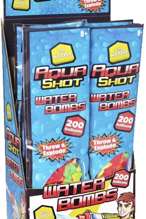 AQUA SHOT 200 WATERBOMBS WITH NOZZLE
