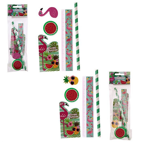 Tropical Flamingo & Pineapple 5 Piece Stationery Set