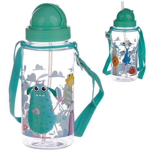 450ml Childrens Reusable Water Bottle with Straw - Monstarz Monster