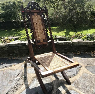 Decorative Walnut Folding Bedroom Chair