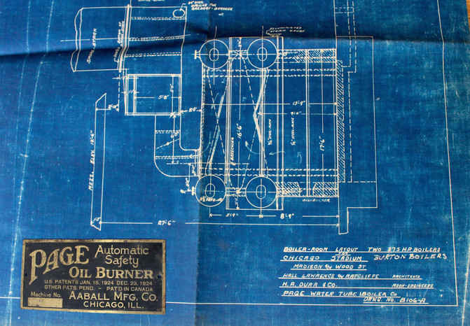 Page boiler company history made in chicago museum chicago stadium blueprint by page boiler company c 1940s malvernweather Images