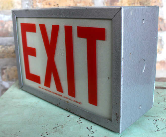 Exit Sign By Western Fluorescent Light Co., 1950s