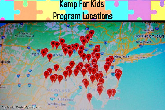 Camp for kids program locations map