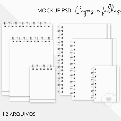 MockUps PSD Capas e Folhas 12 Arquivos Digitais A4, A5 e A6