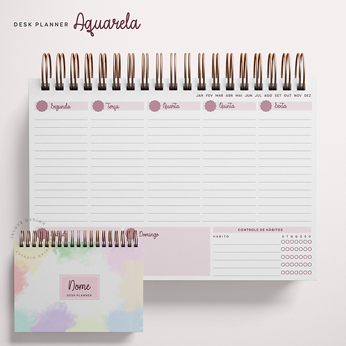 Desk Planner Aquarela