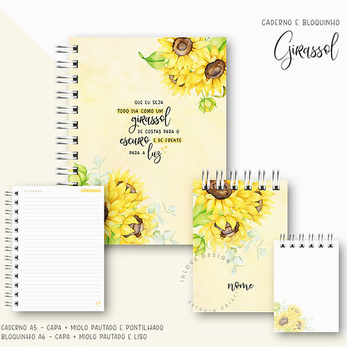 Caderno e Bloquinho Girassol