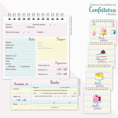 Caderno de Pedidos da Confeiteira + Recibo (Para bolos)