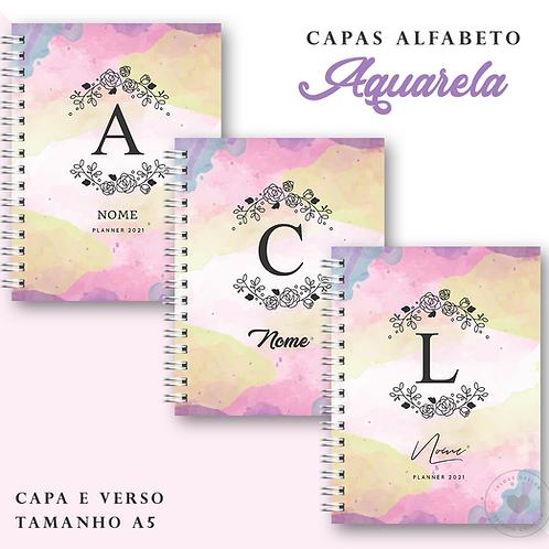 Coleção de Capas Alfabeto Aquarela