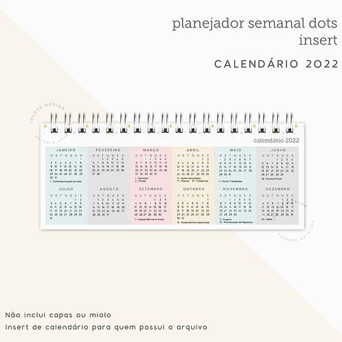 Calendário 2022 Planner Semanal Dots
