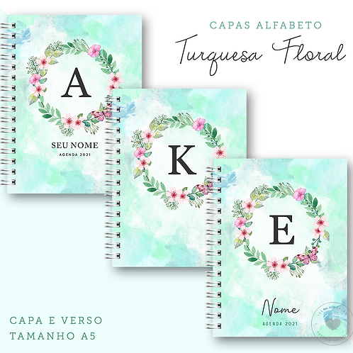 Coleção de Capas Alfabeto Turquesa Floral