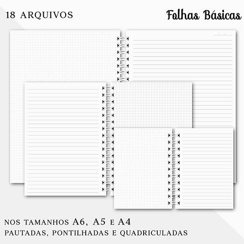 Folhas Básicas 18 Arquivos Digitais A4, A5 e A6