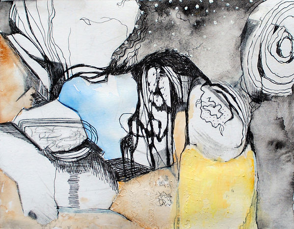 Hidden Space. Etching and Watercolour