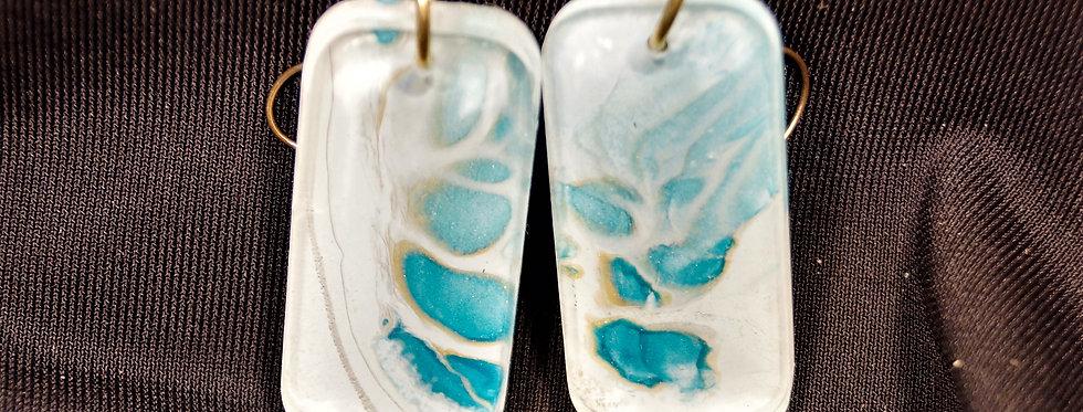Rectangle shape Blue, white and gold  Resin Earrings