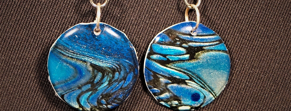 Cobalt blue, light blue and black Resin Earrings