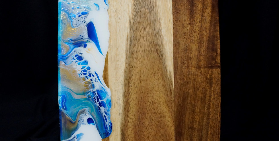 White, gold, cobalt blue and paradise blue Wood Serving Board