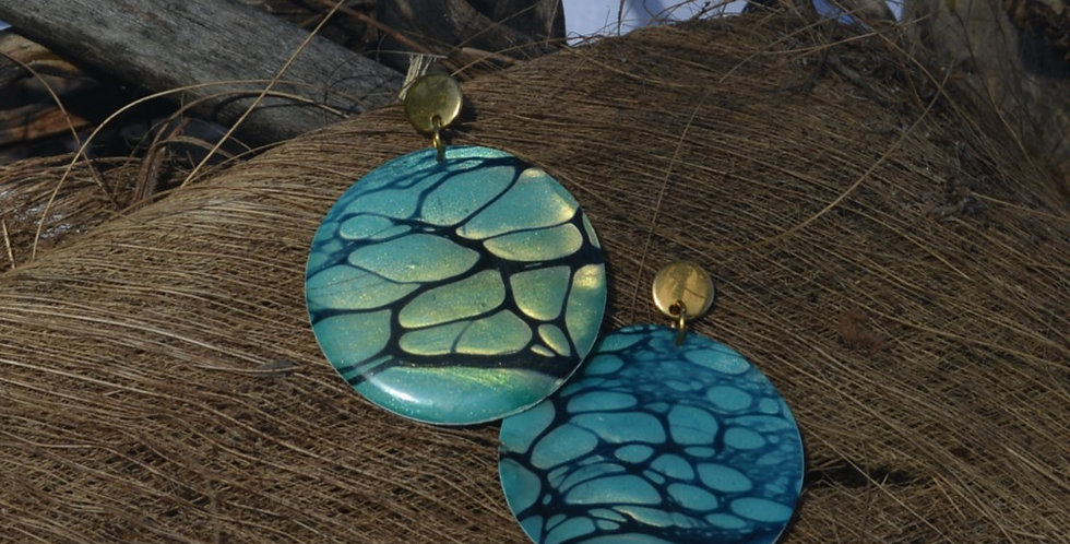 Teal, black and gold Resin Earrings