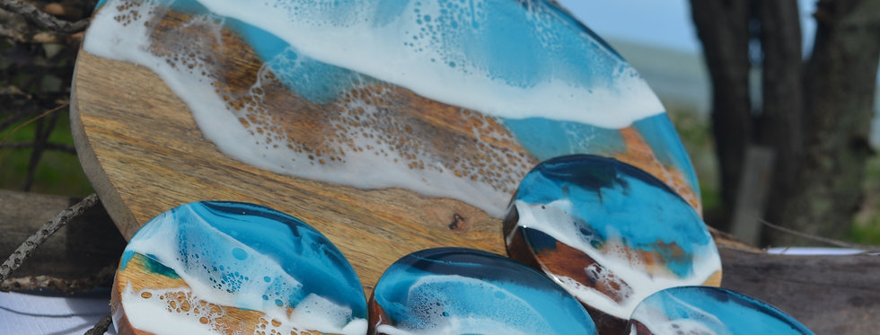 Ocean inspired Wood Serving Board with coasters
