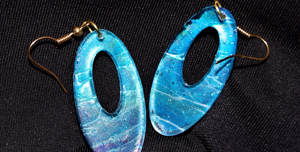 Blue, gold, cranberry and white  Resin Earrings