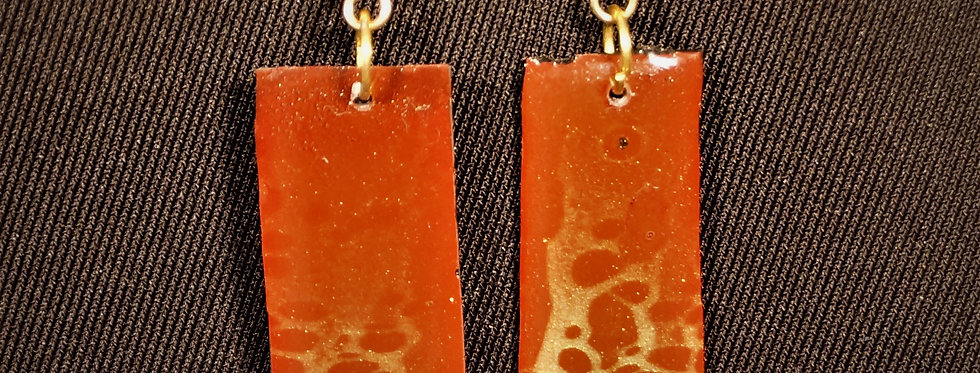 Black, red and gold Resin Earrings