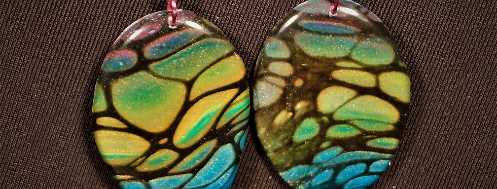 Magenta, blue, green, white, yellow and gold Resin Earrings