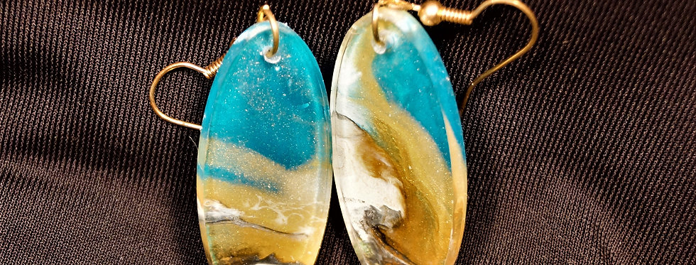 Surfboard style brown, gold, black, white and blue Resin Earrings
