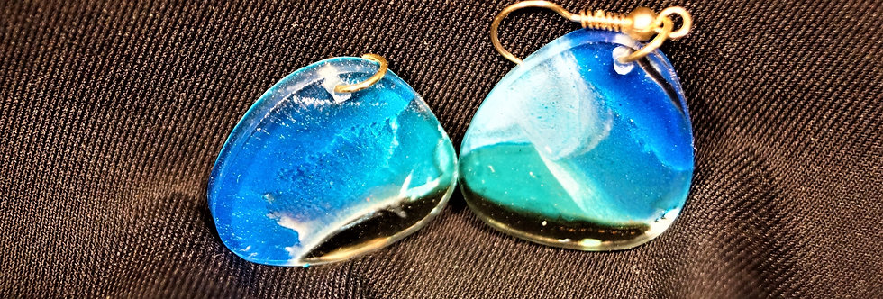 Blue, gold, green and black Resin Earrings
