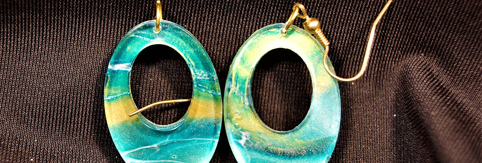 Aqua, green, gold and white  Resin Earrings