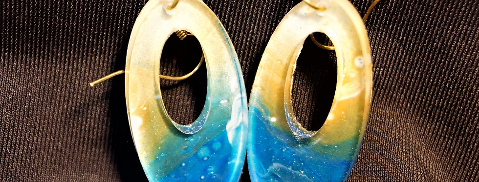 Blue, gold, and white  Resin Earrings