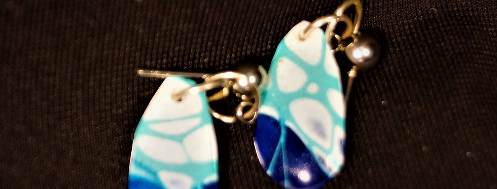Pink, blue, teal and white  Resin Earrings