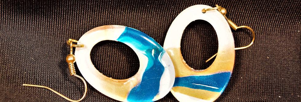 Blue, orange and white  Resin Earrings