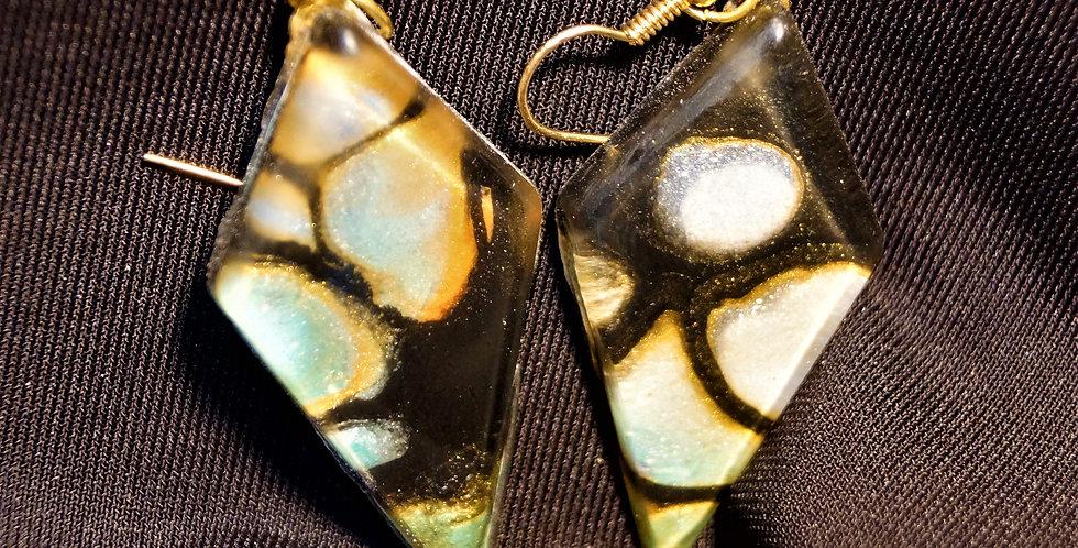 Long diamond Orange, green, gold and black Resin Earrings