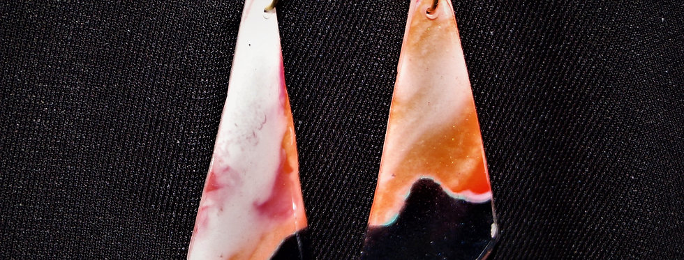 Red, orange, white, black and gold Resin Earrings
