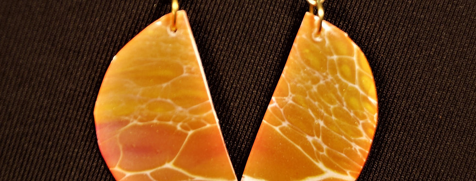 Magenta, orange, white, yellow and gold Resin Earrings