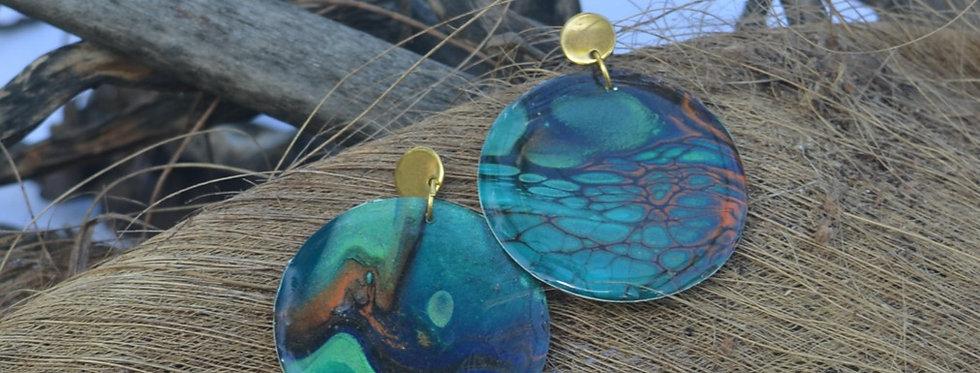 Deep sea green, orange, gold and black Resin Earrings