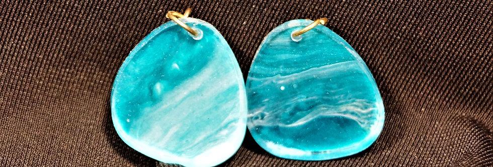 Aqua, gold and white Resin Earrings