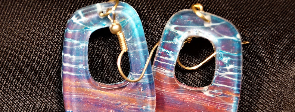 blue, cranberry, white and gold  Resin Earrings