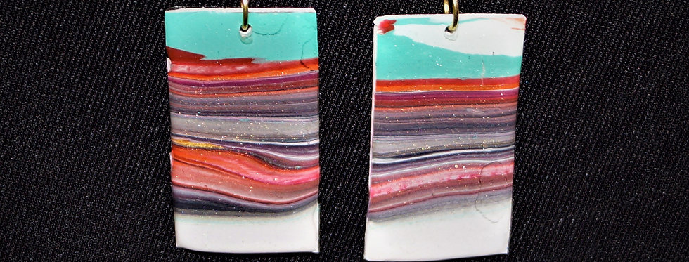 Red, green, white, purple, black and gold Resin Earrings