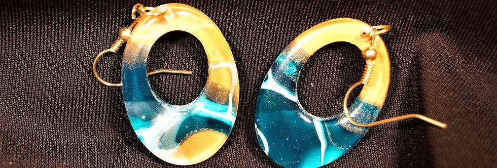 Green, orange and white  Resin Earrings