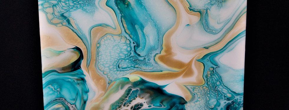 Sea Blue Gold and White Artwork