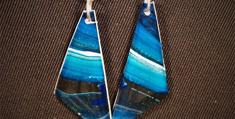 Cobalt blue, light blue, white and black Resin Earrings