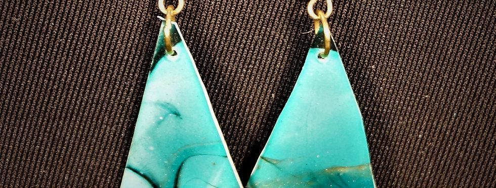 Green, gold and black Resin Earrings