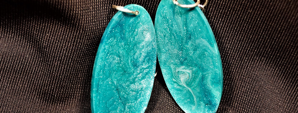Surfboard style green Resin Earrings