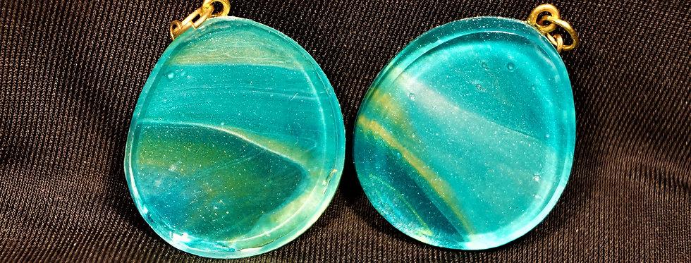 Aqua, gold, green and white Resin Earrings