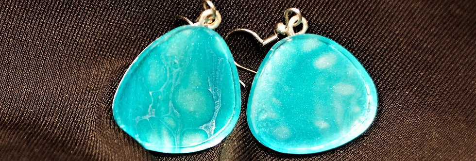 Aqua, silver and white Resin Earrings