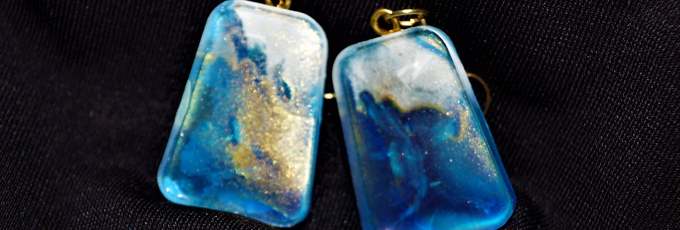 Blue, gold and White Resin Earrings