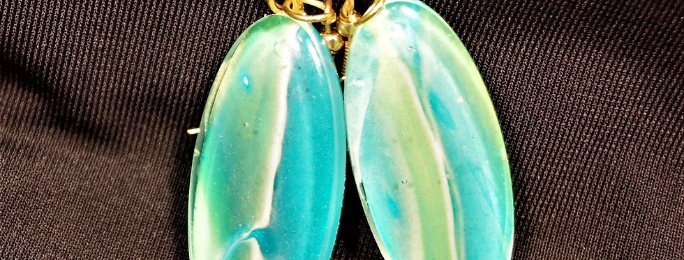 Surfboard style green and blue Resin Earrings